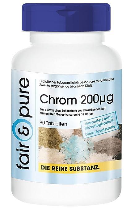 90 comprimidos vegetarianas de cromo (200 mcg) - Picolinato de cromo (III)