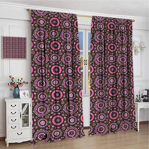 GUUVOR Floral Heat Insulation Curtain Hippie Style Flourishing Flowers with Abstract Colorful Circles Pattern for Living Room or Bedroom W120 x L96 Inch Chocolate Pink Purple