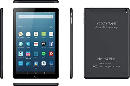 Discover Note 4 Plus, Quad Core, Dual Sim, Dual Camera, Tablet PC intelligent de 10,1 pouces, Android 8.1, 64 Go, 4 Go DDR3, 4G LTE, Wi-Fi, (Noir)