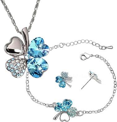 Dahlia Four Leaf Clover Necklace, Earrings & Bracelet Set with Crystals  from Swarovski