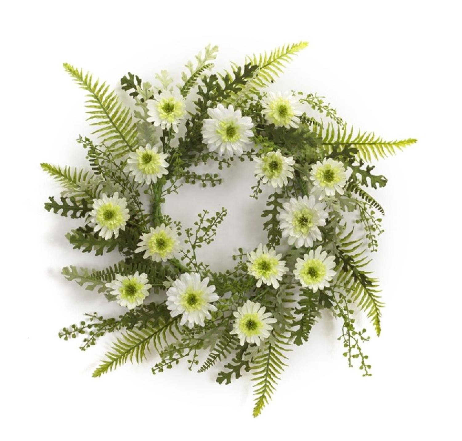 Pack of 2 Blooming Spring Zinnia Flowers with Green Foliage Wreath 24''- Unlit