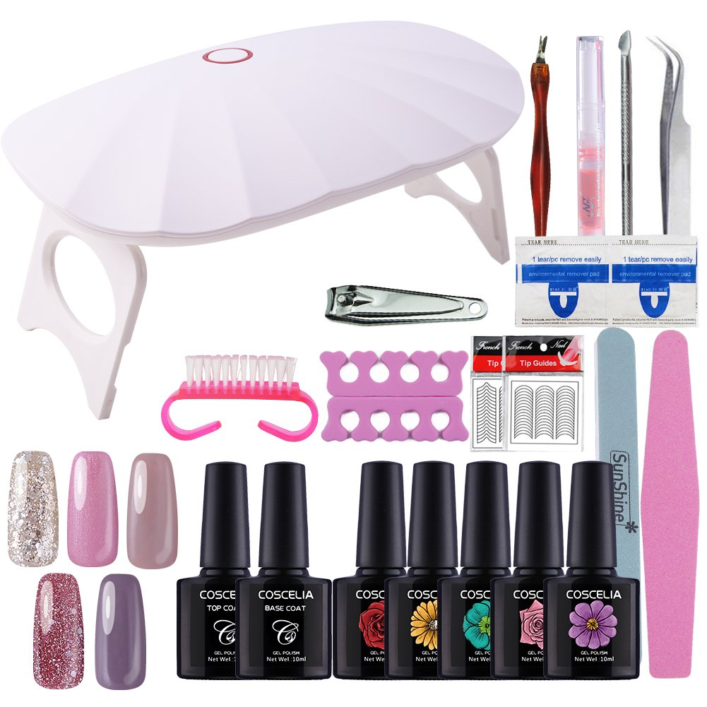 Uv Gel Nail Polish Starter Kit: Coscelia 5 Colors Uv Gel Soak Off Nail Starter Kit With