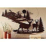 Woodland Cabin & Deer Metal Wall Art (1)