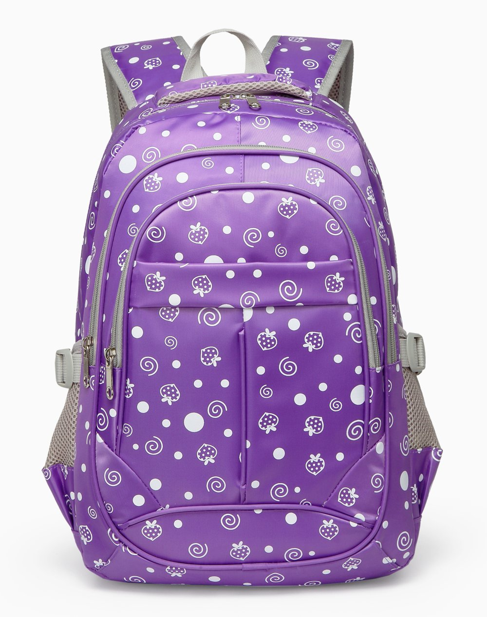 Dots&Strawberry Print Girls Backpack For Kids Elementary School Bags Bookbags/Birthday Gifts Presents (Purple 2)