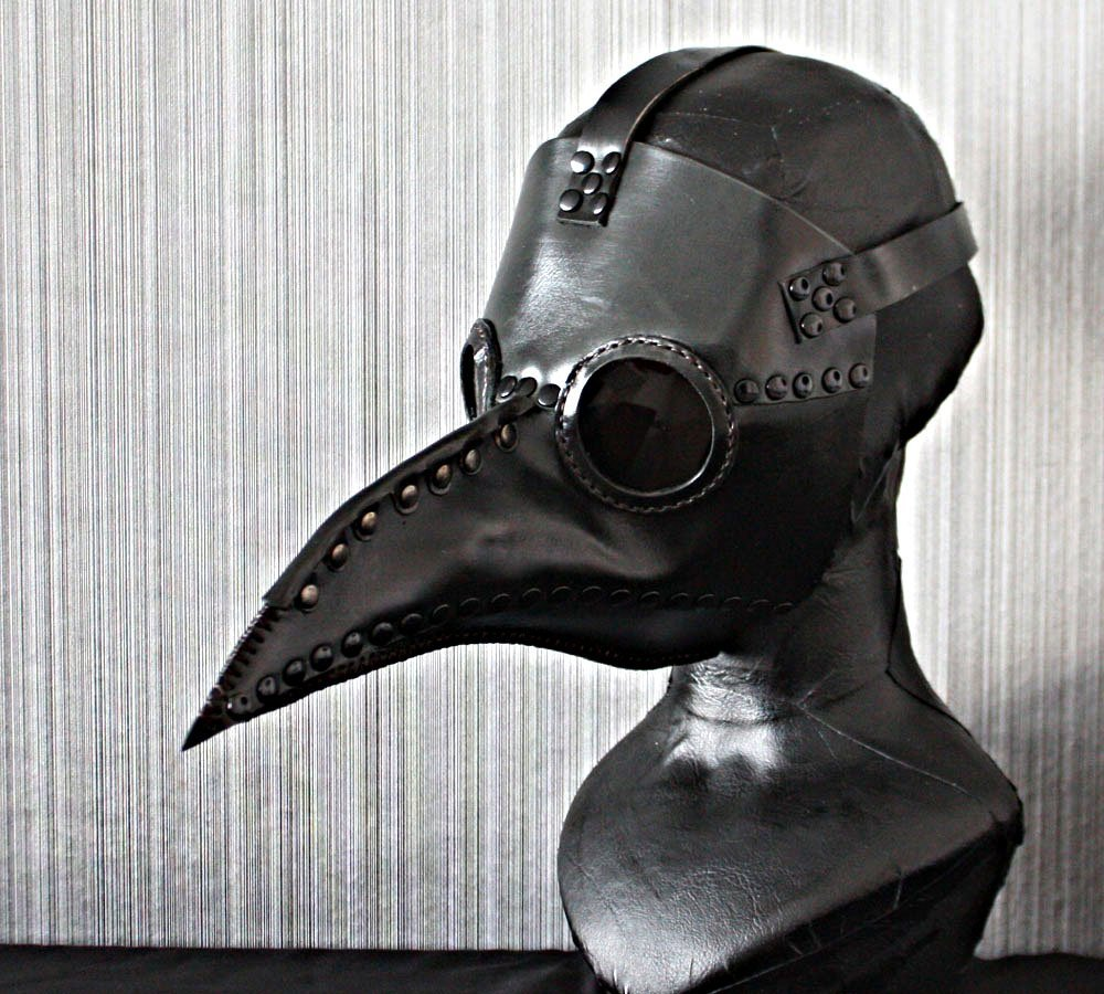 1:1 Halloween Costume Cosplay Bird Prop Leather Dr Plague Doctor Mask Black GL03