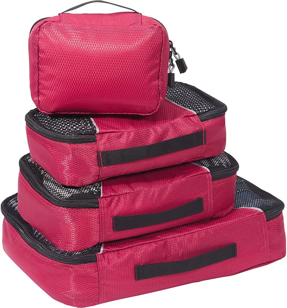 eBags Classic Small//Medium Packing Cubes for Travel Organizers 4pc Set - Raspberry