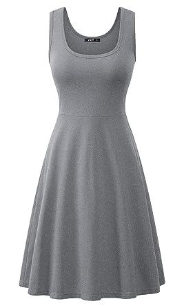 ZJCTUO Damen Ärmelloses Rundhals Sommerkleid Tank Flare Midi Kleid Basic  Kleider  Amazon.de  Bekleidung 2a9310fc03