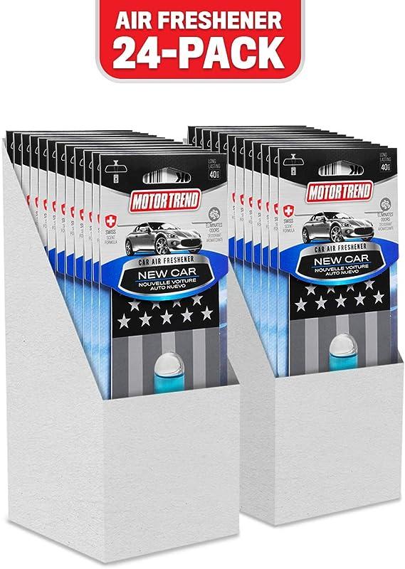 Motor Trend AF200NW New Car Black Flag Air Freshener (24-Pack) – Long Lasting Odor Eliminator with Swiss Formula