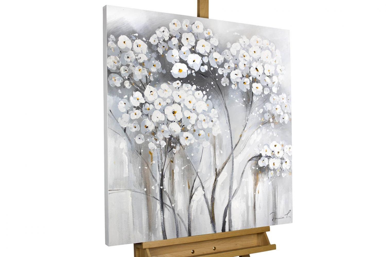 KunstLoft® Gemälde 'Weiße Unschuld' Unschuld' Unschuld' in 80x80cm   XXL Leinwandbild handgemalt   Weiße Blumen auf Grau   signiertes Wandbild-Unikat   Acrylgemälde auf Leinwand   Modernes Kunstbild   Sehr großes Acrylbild auf Keilrahmen cb77e0