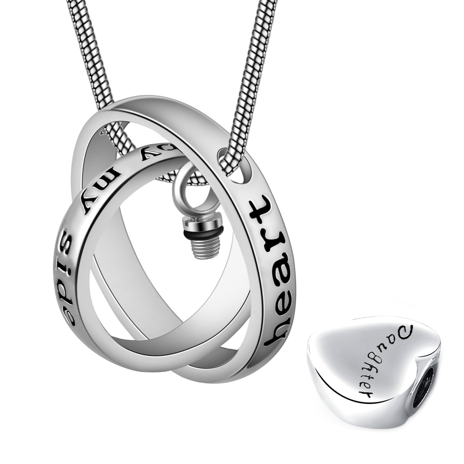 Eternally Loved No longer by my side,forever in my heart carved locket cremation Urn necklace for mom & dad (Daughter) by Eternally Loved (Image #3)