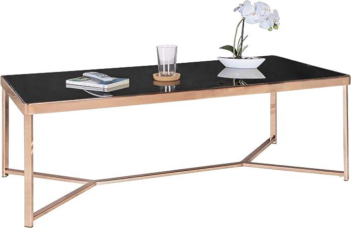Ablagetisch Modern Gro/ßer Wohnzimmertisch Glastisch mit Metallgestell Couchtisch mit Glasplatte FineBuy Couchtisch FB13961 Metall//Glas 120 x 60 cm Gold//Schwarz Beistelltisch