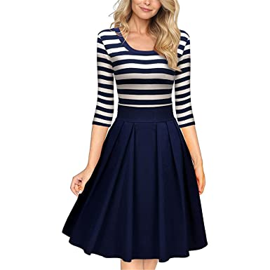B dressy Women Slimming Clothing Autumn Casual Striped Bodycon Dress Striped Patchwork O-Neck Office