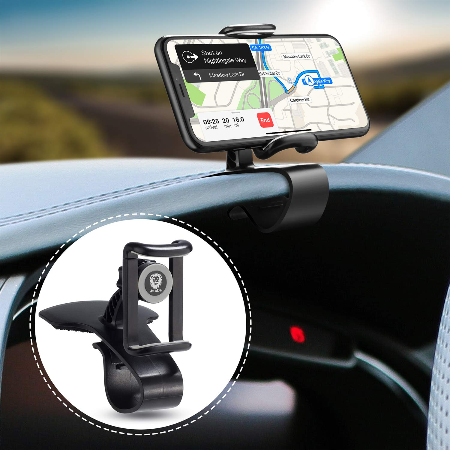 JunDa Car Phone Holder 360-Degree Rotation Cell Phone Holder Suitable for 4 to 6.5 inch Smartphones,Rotating Dashboard Clip Mount Stand