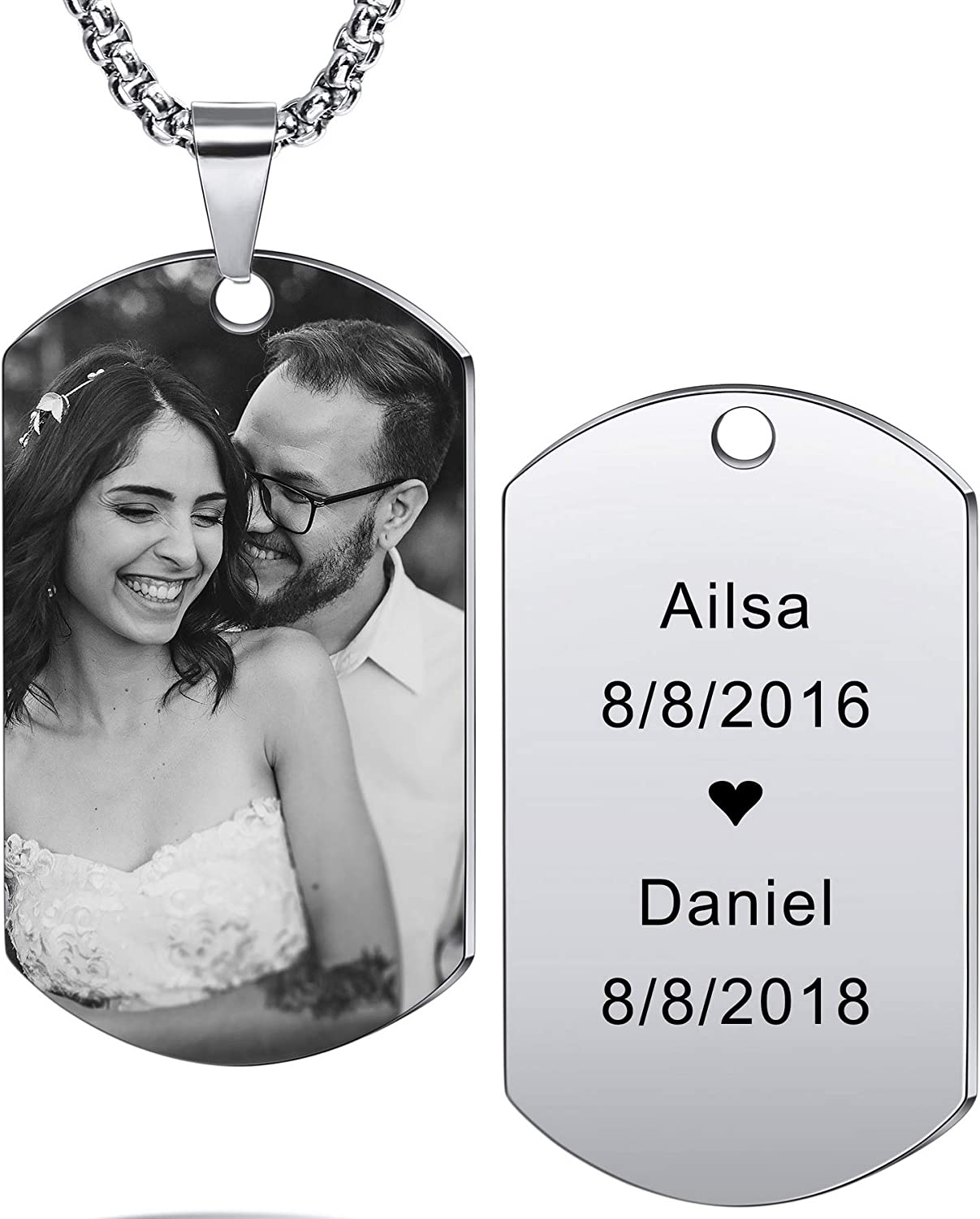 Image Necklace Engraved Photo Necklace Personalized Dog Tag Pendant Necklace Men Black Necklace Custom Name Necklace Picture Necklace