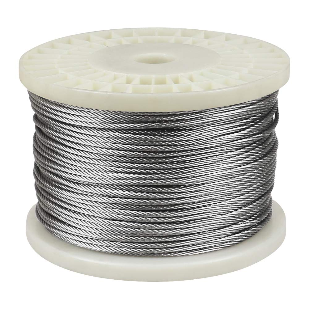 """IZOKIN 1/8"""" 316 Stainless Steel Wire Rope Aircraft Cable for Deck Cable Railing Kit DIY Balustrade Handrail Cable,7x7 450ft"""