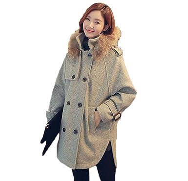 (フアングー)huanggu 人気 ファッション 秋冬 ロング アウター レディース 修身 ラシャストール コートOL風