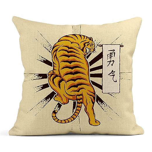 Kinhevao Cojín Cabeza de Tigre Tatuaje Vintage y Pintura Japonesa ...