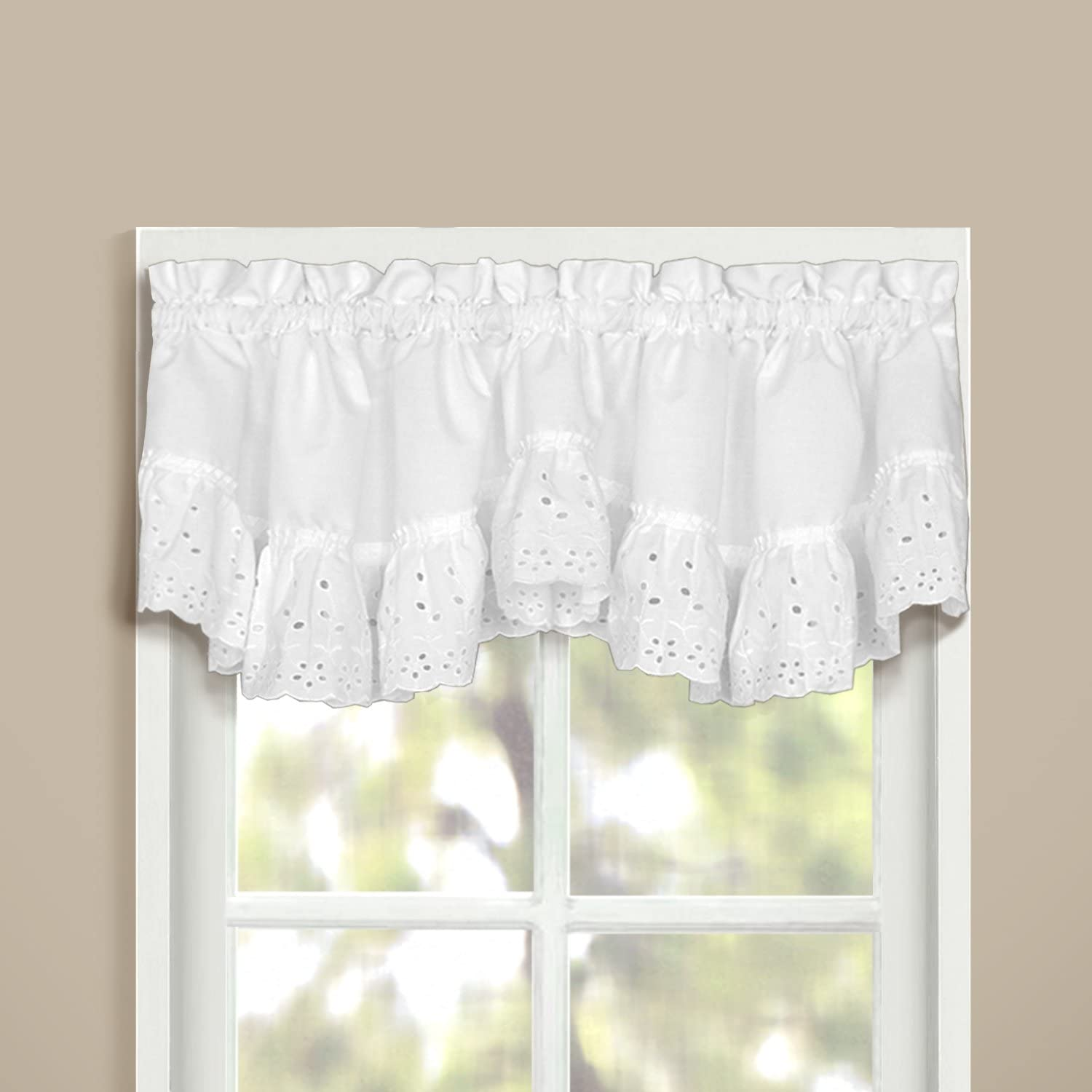 American Curtain and Home Deanna Window Treatment Valance, 60-Inch by 12-Inch, White