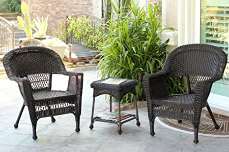Amazon Com 3 Piece Espresso Brown Resin Wicker Patio Chairs And End Table Furniture Set Garden Outdoor