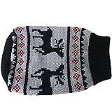 【ノーブランド品】犬用セーター ニットセーター 犬洋服 犬の冬服 防寒 鹿パターン 黒 (S)