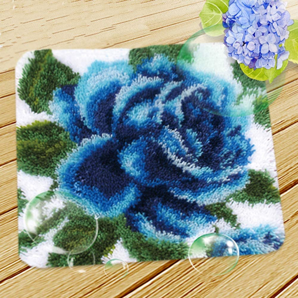 18 X 18 YINSY Rug Latch Hook Kits DIY Embroidery Handcraft Kit for Kids and Adults Blue Flower