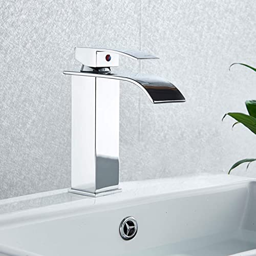 Votamuta Chrome Finish Single Lever Bathroom Faucet Deck Mounted Basin Sink Vanity Faucet Waterfall Spout