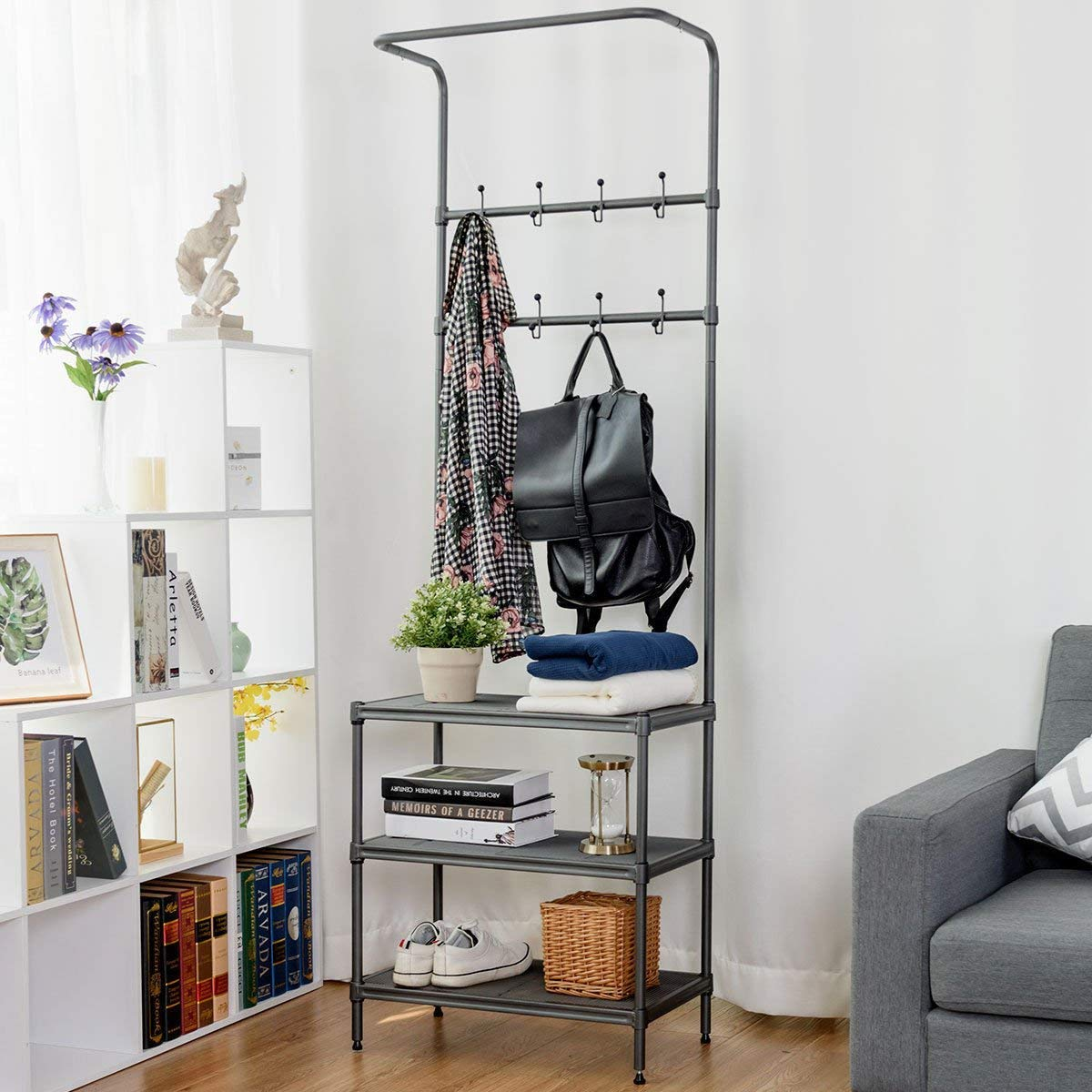 Tangkula Entryway Hall Tree Multi-Purpose Metal Coat and Shoe Bench Rack  3-Tier Storage Shelves Bag Clothes Umbrella and Hat Rack for Entryway  Corner