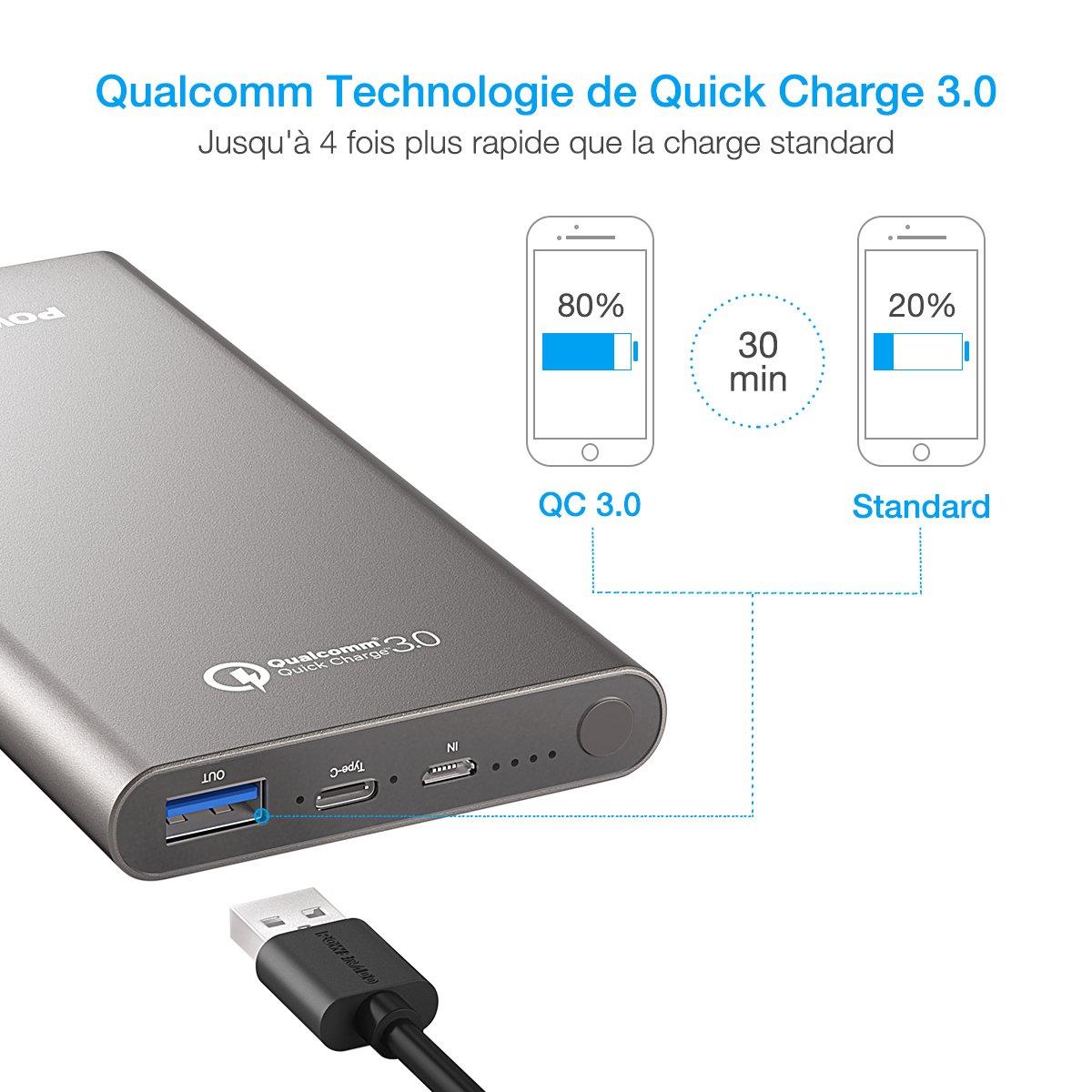 [Quick Charge 3.0] Poweradd 10 000 mAh USB Type-C Grande Capacité Chargeur Batterie Portable de Secours Externe avec sortie 4.8A pour iPhone, iPad, iPod, Samsung, et des autres téléphones(Adaptateur USB-C inclus)-Gris foncé