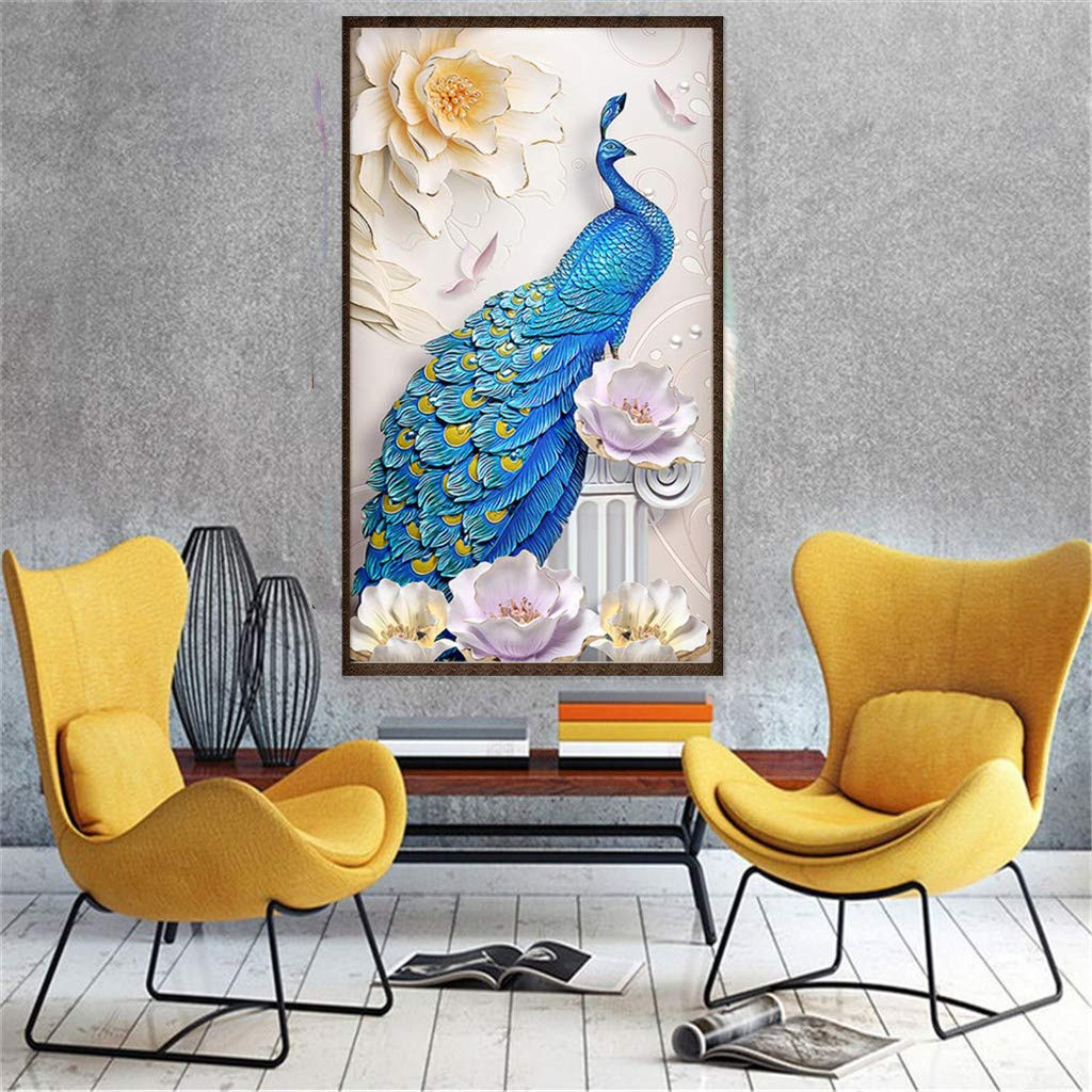 TOCARE Large Diamond Painting Kits for Adults Lucky Bird Full Drill Paint with Diamonds Dotz Wall Art Decor Presents for Your Family,40x60CM Blue Peacock