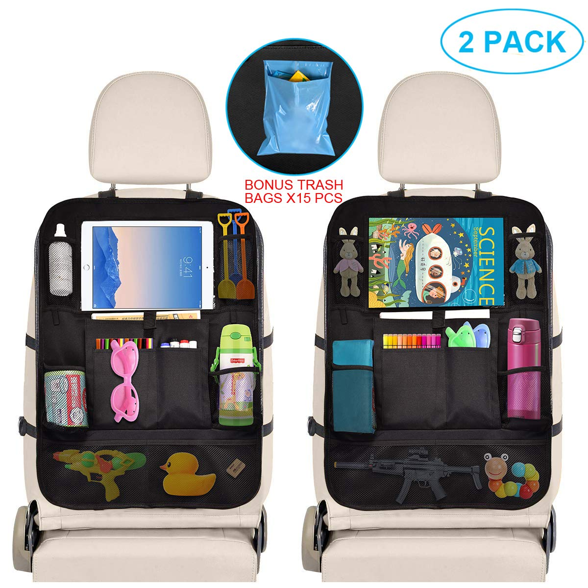 Car Organizer Back Seat - Car Accessories Storage Organizer with Touchscreen Tablet Holder Multi-Pocket - Car Seat Back Protector Kick Mats - Automotive Travel Accessories for Kids Toddlers (2 Pack) by VISSON