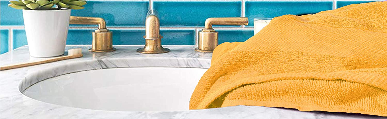 Ultra Soft /& Highly Absorbent Ideal for Everyday use 100/% Pure Cotton White 4 Bath Towels 27x54 Glamburg Premium Cotton 4 Pack Bath Towel Set