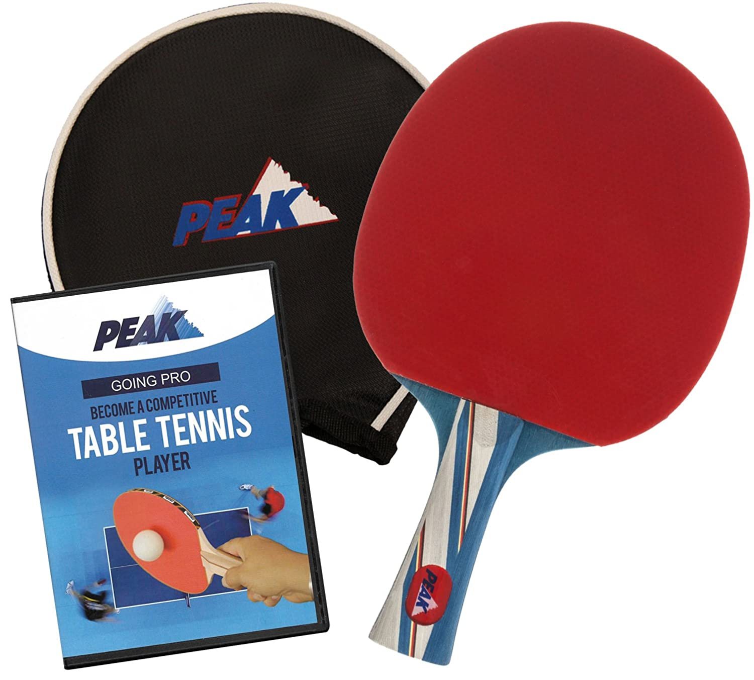 Peak Table Tennis Racket with Padded Storage Case and Going Pro Instructional DVD - Ping Pong Paddle B017YBRQWC