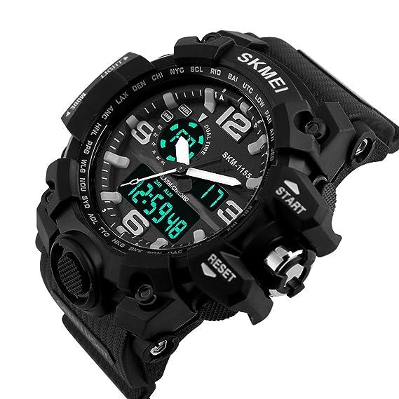 eyotto de los hombres del deporte del reloj de doble zona horaria 12/24 horas hora militar impermeable analógico Digital cuarzo: Amazon.es: Relojes