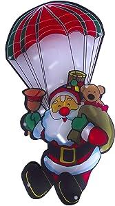 Finestra Silhouette Motivo Babbo Natale AM paracadute con 20Mini luci per Interni decorazioni di Natale