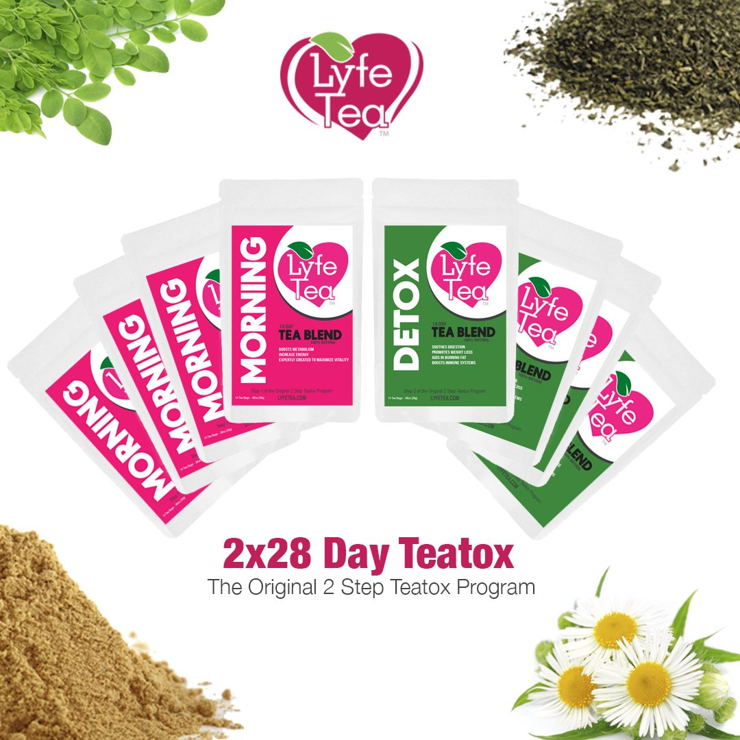 2 x 28 Day Teatox Natural Weight Loss (4 Morning Tea and 4 Detox Tea) - Herbal Cleanse Tea Bags - Aid Digestion, Boost Energy, Elevate Mood, Suppress Appetite - Lyfe Tea