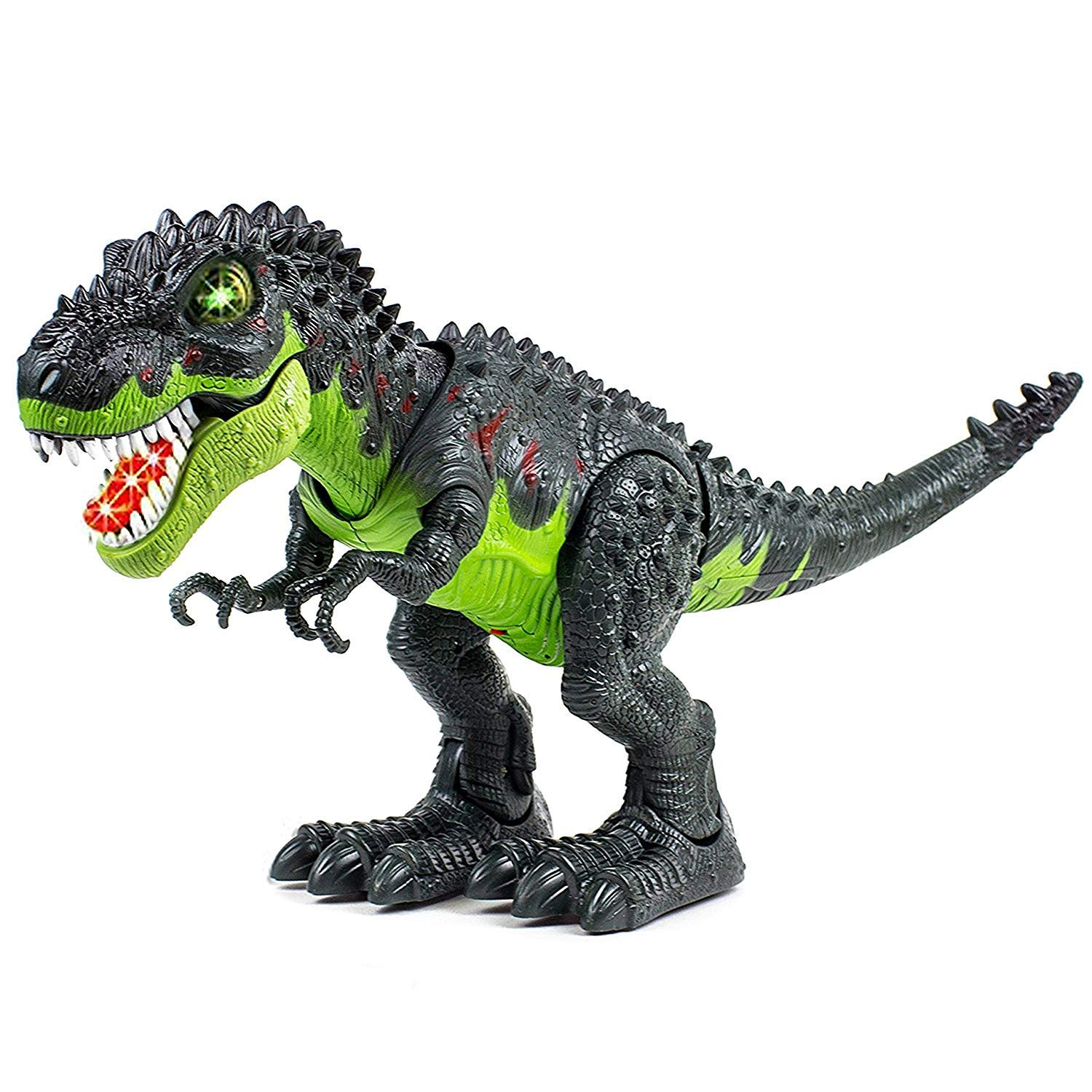 SY WonderPlay Tyrannosaurus T-Rex Dinosaur with Lights and Realistic Sounds Action Figure Toy - Light Up Eyes, Awesome Sounds - Walks on Its Own! - Great Gift Boys 3+,Battery Operate (Green) by SY (Image #3)