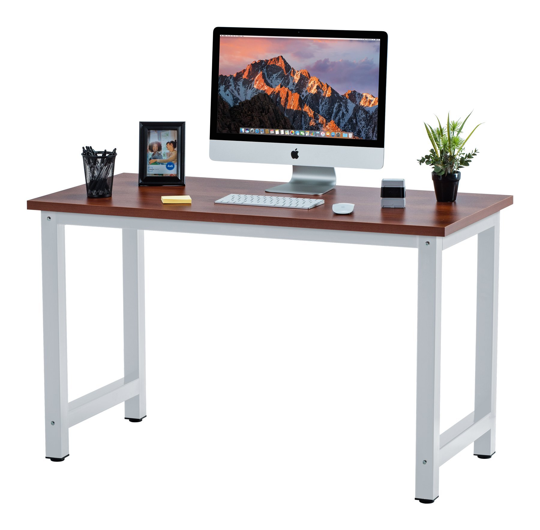 Fineboard 47'' Stylish Home Office Computer Desk Writing Table Elegant & Modern Design, Teak/White