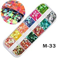 Nail Decal Colorful Beauty Nail Art Crystal Rhinestones Nail Art Stickers Resin Flake Decoration Glitter Case(As Shown) for Decoration (Color : Blue, Size : 13x5x1cm)