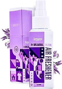 100% Natural Air Freshener Spray, Lavender Linen Spray, Car Deodorizer (Lavender-Ice | 600 uses) #1 Most Powerful Car Air Freshner, Room Spray, Bathroom Spray, Pillow Spray, Carpet Deodorizer and More