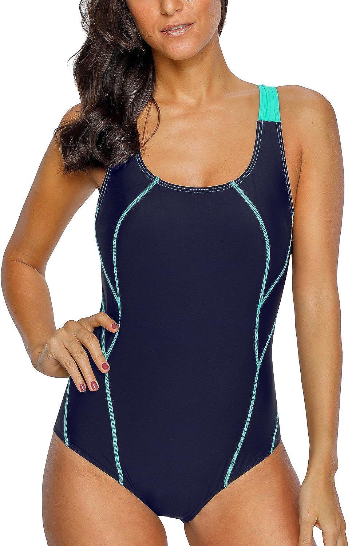 CharmLeaks Women's Sport One Piece Swimsuit Competition Swimwear Racerback Bathing Suit