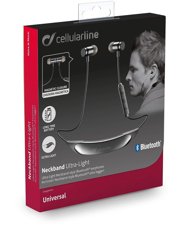 Cellularline BTNECKBLIGHTK Dentro de oído, Banda para cuello Binaural Inalámbrico Negro: Amazon.es: Electrónica