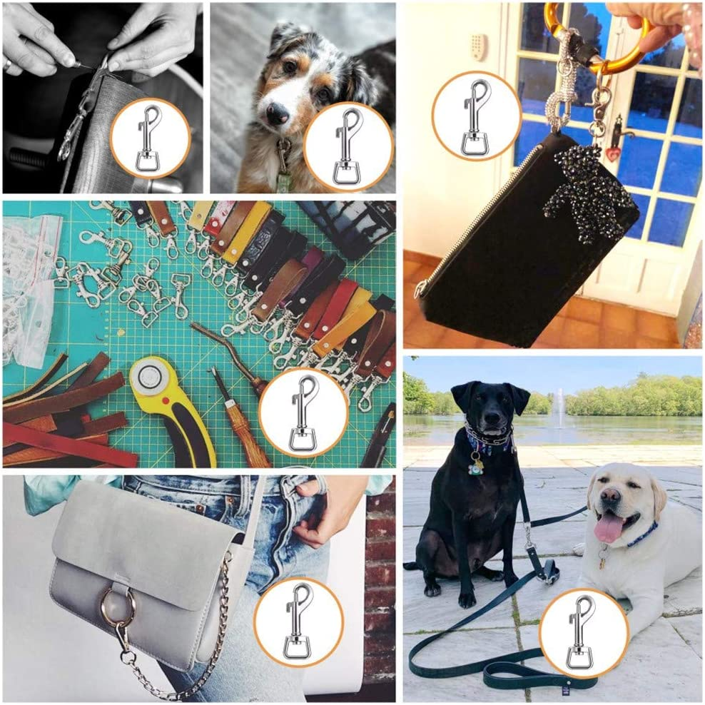 Keychain Handmade Crafts DIY Project Swivel Snap Hooks for Dog Leash Collar Linking Spring Pet Buckle FANGZHIDI 20pcs Heavy Duty Stainless Steel Metal Buckle Trigger Clip- Best for Purse Making