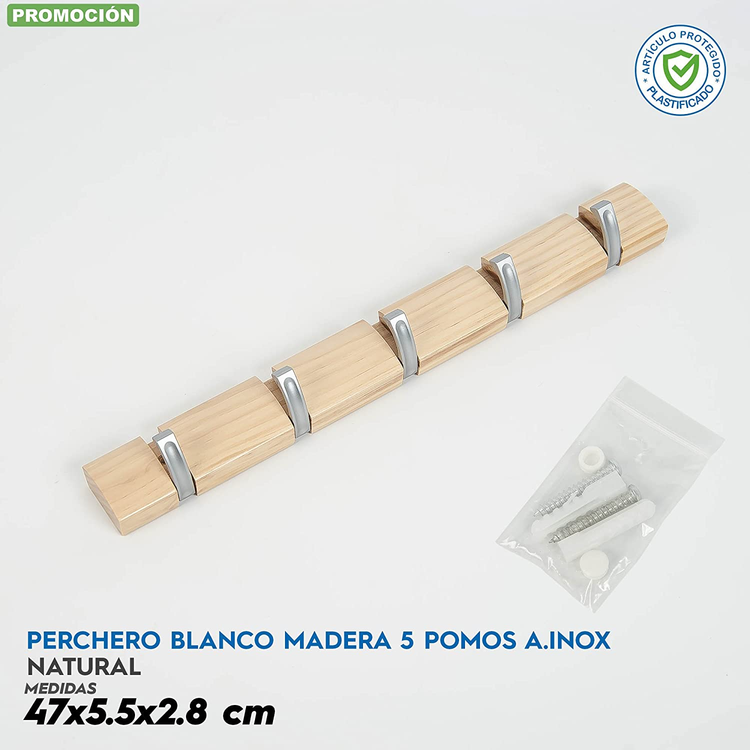 Avocado Perchero Madera 5 pomos SAINZ: Amazon.es: Hogar