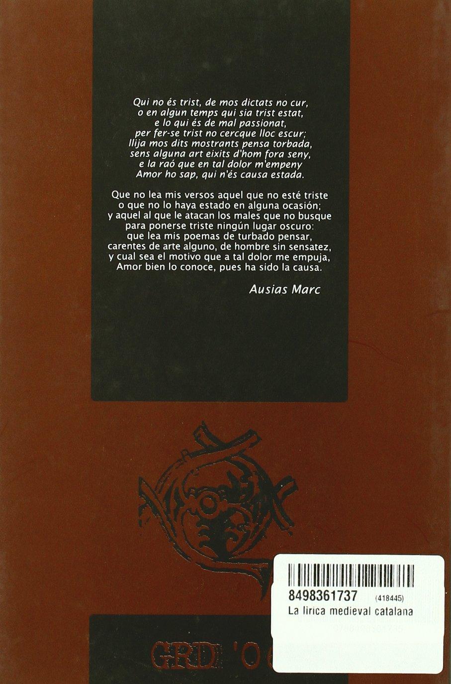 Lirica Medieval Catalana. Estudio Preliminar: 9788498361735: Amazon.com: Books