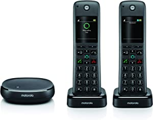 Motorola AHX02 Wireless Handset Home Telephone with Alexa Built-in, Two Handsets