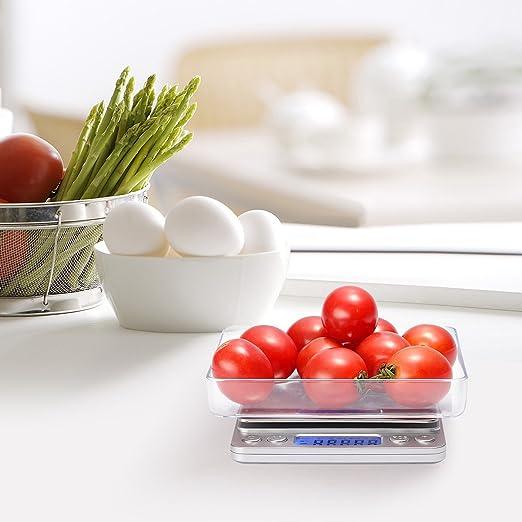 iDaodan 3000 G 0,1 G Digital báscula de cocina G báscula electrónica bolsillo Pro alimentos escala con pantalla LCD retroiluminada, función tara, ...