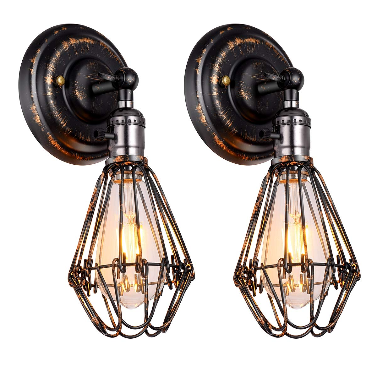 2 Pack Wire Cage Wall Sconce Bronze and Black Finish Metal Industrial Wall Light Shade Vintage Style Mini Antique Fixture with On/Off Switch for Headboard Bedroom Farmhouse Garage Barn Door Porch