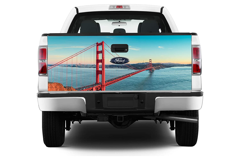 Pick-Up Truck Perforated Rear Window Wrap USA San Francisco Bridge