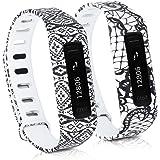 kwmobile 2en1: 2x Bracelet de remplacement sport pour Fitbit One en Dentelle noir blanc, Ornements aztèques noir blanc, Dimensions intérieures: env. 13 - 20 cm