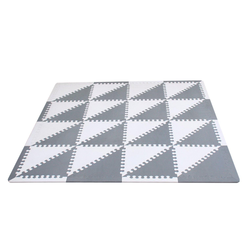Puzzlematte für kinder schaumstoffmatte eva schaumstoff foam - - - puzzle spielmatte spielteppich-puzzleteppich baby schaumstoff für Kid Dreieck-Puzzle Grau und weiß Größe(139x139x1cm) 050Z3510HUI 6c26b1